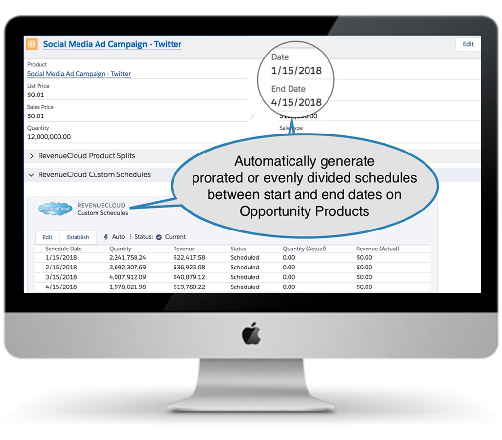 Automatically generate prorated or evenly divided revenue schedules with RevenueCloud Subscriptions Schedules feature.